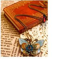 Buy cheap Wind Drops Oil Drilling Multi Palace Retro Blue Butterfly Necklace Sweater Chain from wholesalers
