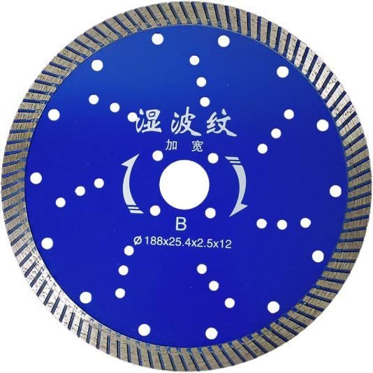 Quality 188x25.4x2.4mm-12mm Wet Turbo Teeth Diamond Saw Blade Sintered Segment For Tile Saw Blade for sale