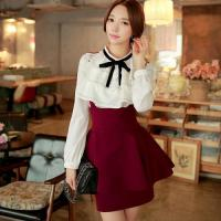 Wholesale Women Bow Tie Slim Casual Swing Pleated Skirt from china suppliers