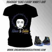 Wholesale CLEARANCE Silence Is Golden Womens T-shirt to match the Gamma Blue 11s from china suppliers
