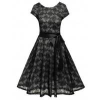 Wholesale Dresses Black Short Sleeve Vintage Style Floral Lace O Neck Party Dress Model: ww0a0013 from china suppliers