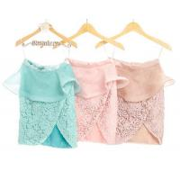 Wholesale Dress MAGNOLIA SLIT SKIRT WITH PEPLUM - TURQUOISE / BABY PINK / NUDE from china suppliers