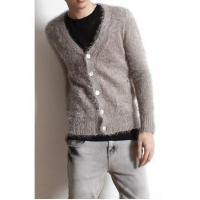 Wholesale Men's Fashion V-neck Single Breasted Fluffy Cardigan from china suppliers