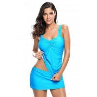 Blue Solid Ruched 2pcs Tankini Skirted Swimsuit LC410023-4