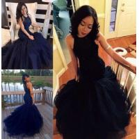 New Style Mermaid Prom Dresses 2017 Beaded Keyhole Back Tiers Train Sexy Long Evening Gowns