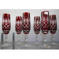 China SET OF 6 RUBY RED EUROPEAN CUT CRYSTAL CHAMPAGNE GLASSES on sale