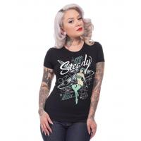 Womens Clothing Steady Atomic Pin-Up Womens Fitted Black T-shirt