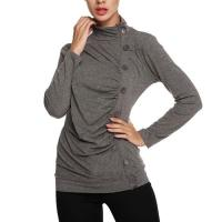Wholesale Tops & Tees Women's Long Sleeve Button Embellished High Neck Tops from china suppliers