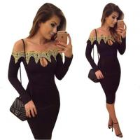 Wholesale Crochet Off Shoulder Black Bodycon Dress Long Sleeve from china suppliers
