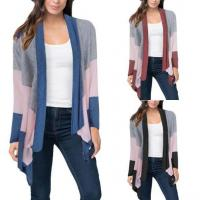 Wholesale Color Block Asymmetric Drape Front Cardigan Long from china suppliers