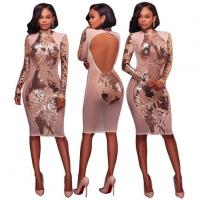 Wholesale Open Back Long Sleeve Nude Sequin Party Dress from china suppliers