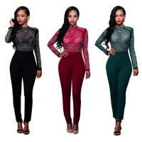 Wholesale Long Sleeve Rhinestone Mesh Bodice Jumpsuit In Autumn from china suppliers