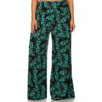 Wholesale PREMO Fold-Over Waist Palazzo Pants - GREEN PAISLEY from china suppliers