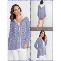 Wholesale Simply Noelle striped jacket hooded Size S to XL blue, tan, or grey from china suppliers
