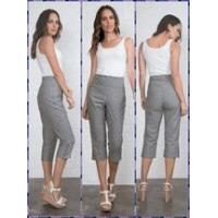Wholesale Simply Noelle stripe pant crop capri snap Size S to XXL black, cream, harbor blue from china suppliers