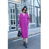 Wholesale Hot Korean Fashion Knitted Oversized Sweater Woman V Neck Sweater from china suppliers