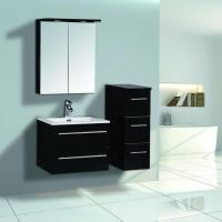 600mm Black High Glossy Bathroom Furniture With Mirror Cabinet
