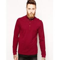 Maroon Mens Long Sleeve Polo Shirts
