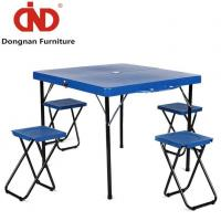 China Outdoor Wooden Portable Folding Up Camping Picnic Tables with 4 Chairs on sale