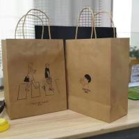 Custom bottom block shopping paper bag for shoppersfood packaging kraft paper bag with handle