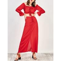 Wholesale Dresses Off The Shoulder Crop Top And Maxi Skirt - Red M from china suppliers