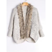 Wholesale Faux Fur Trimmed Cable Knit Cardigan - Light Khaki from china suppliers