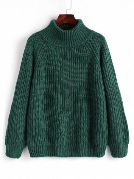Quality Women Raglan Sleeve Chunky Turtleneck Sweater - Blackish Green for sale