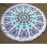 round-001 Factory Manufactured 100% Cotton Printed Round Beach Towel with Fringe