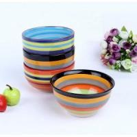 China Hand-painted rainbow ceramic bowl on sale