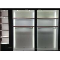 Wholesale Matte White Wooden Retail Clothing Fixtures Apparel Store Shelves With LED Lights from china suppliers