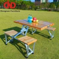 China Folding Commercial Wooden Picnic Tables for Sale Cheap Patio Outdoor Furniture Garden Table and 4 Ch on sale
