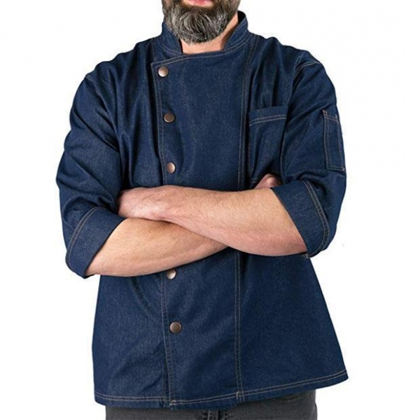Quality Denim Snap Front Chef Coat for sale