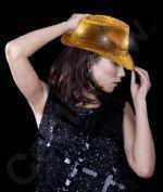 Wholesale LED Sequin Fedora - Gold from china suppliers