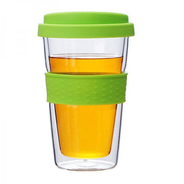 China SRD#202 Silicone sleeves high borosilicate double vacuum insulation glass coffee cup