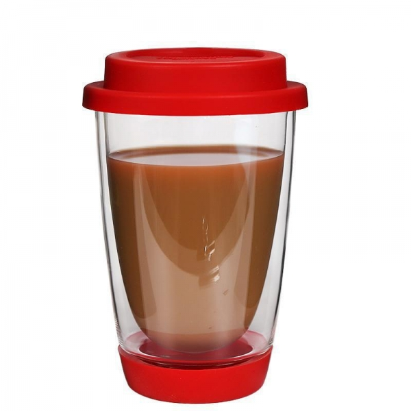 China SRD#203 12 oz double vacuum coffee cup high borosilicate travel mug