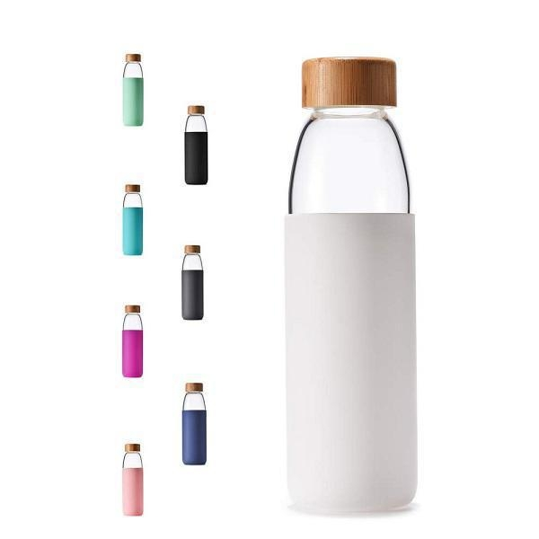 China SRD#204 Large capacity high borosilicate glass water bottle juice cup with silicone bottle cover