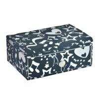 Black And White Felt Drawer Dressing Case With Mirror For Cosmetic Gift Packing