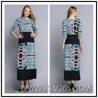 Lady's Fashion Half Sleeve Vintage Printed Jersey Silk Summer Long Maxi Dress