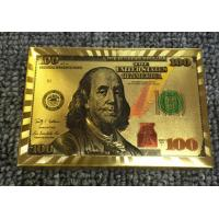 China Dollar Design 24K Gold Plastic Playing Cards on sale