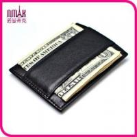 China Genuine Real Leather Thin Money Clip Magnet Wallet Slim Credit Card Holder Mini ID Case on sale