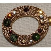 Wholesale Gadgets & Tools Purse Hanger - Gold Oval with Ruby Ziosite and Swarovski Crystals from china suppliers