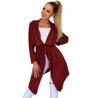 Wholesale Autumn winter Irregular hem Lapel cardigan jacket Femme Red wine S from china suppliers